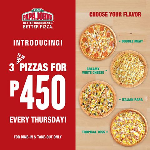 Limited Time Offer: Papa John's is Offering 3 Pizzas for the Price of 1!  Booky