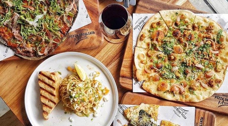 Pizzas, wine and pasta from Pizza Grigliata