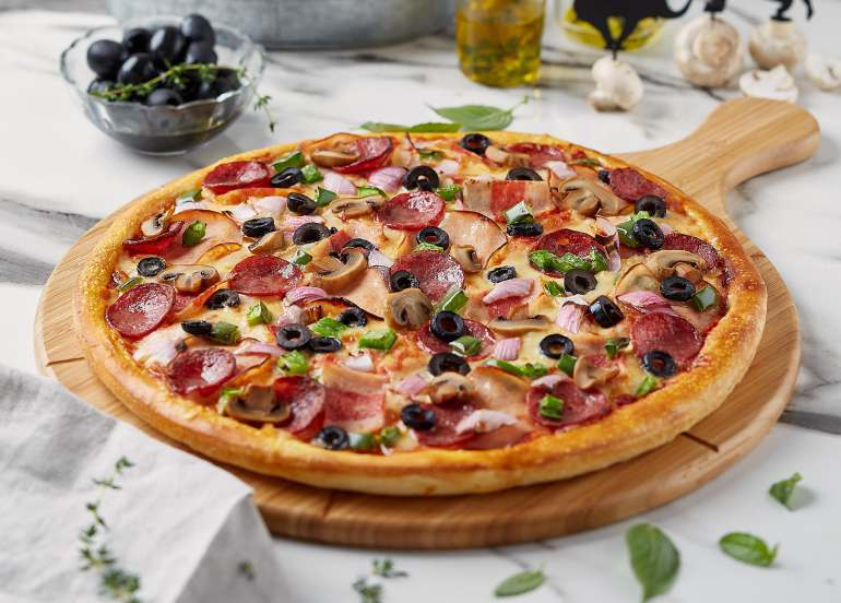 pezzo, hawaiian pizza, menu, delivery, pizza toppings