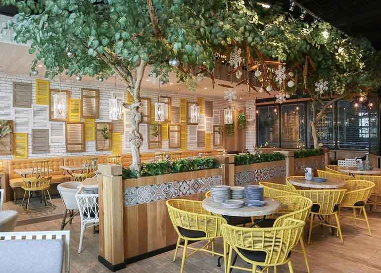 yellow chairs, greenery, wooden tables