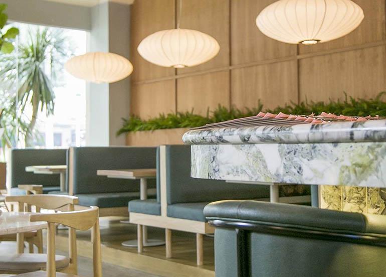 sunnies cafe, marble counter, sofa