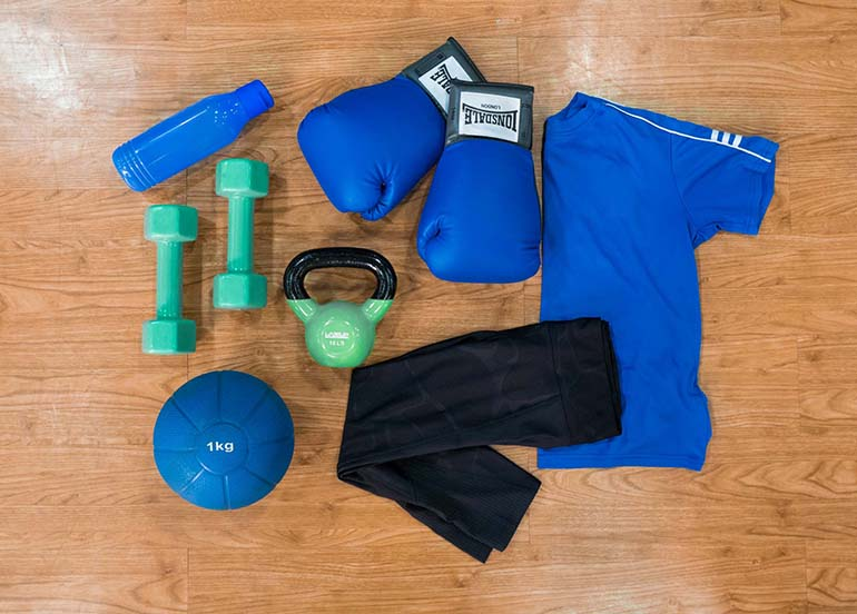fitness equipment, dumbells, weights, boxing gloves