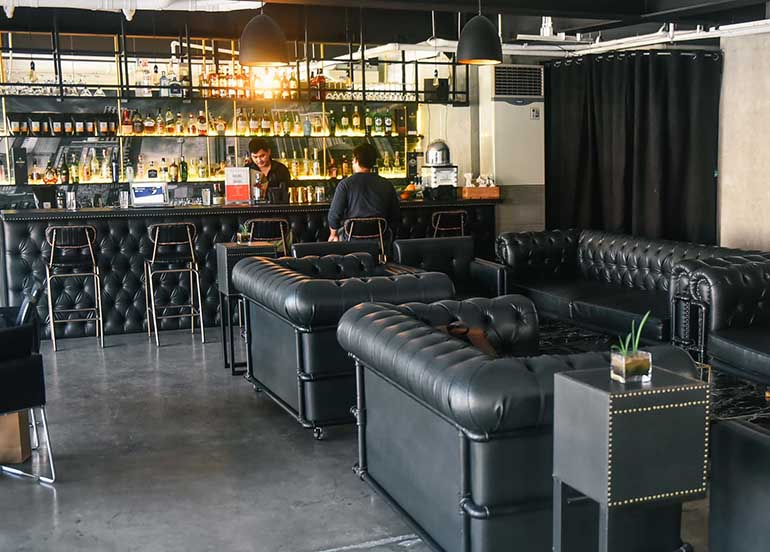 leather chairs, bar