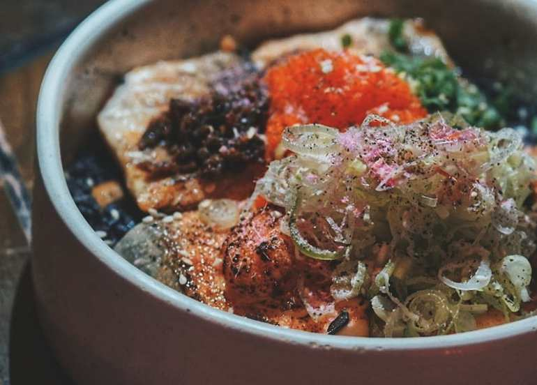 your local torched salmon donburi