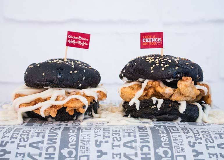 black bun chicken burger