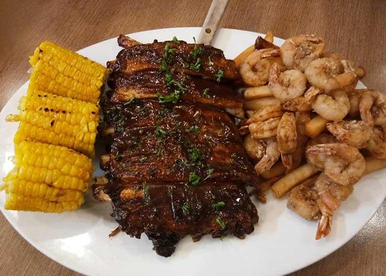 Ribs and Shrimp Platter from Burgoo
