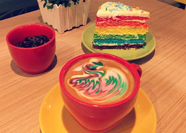 Happy Beans Rainbow Latte and Rainbow Cake