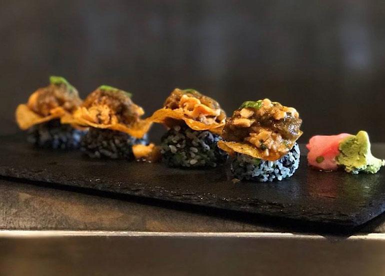 Salmon, pickled eggplant, nori, sushi