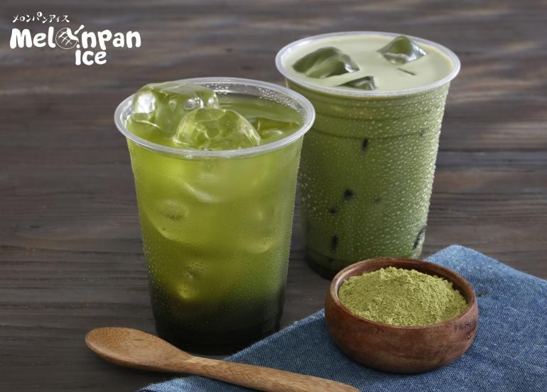 matcha tea latte melonpan ice