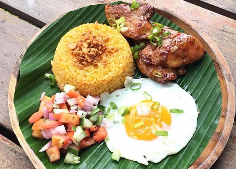 Chicken Tocino, Fried Egg, and Harana Rice from Harana Surf Resort