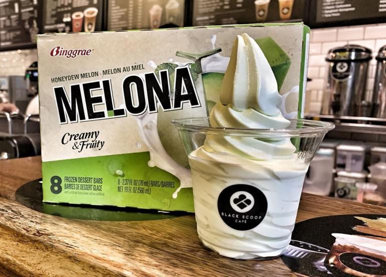 black scoop cafe dessert melona soft serve
