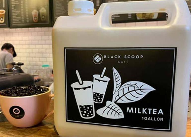 black scoop cafe, milk tea, one gallon milk tea, bubble tea