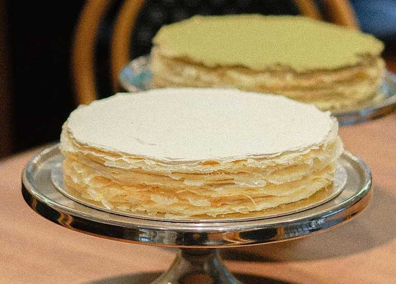 Original and Matcha Mille Crepe from La Creperie