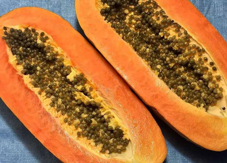 Freshly Opened Papaya
