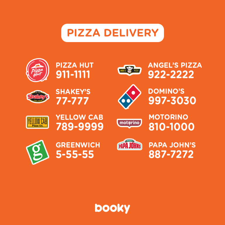 shakeys delivery, greenwich, angel's pizza, pizza hut delivery number