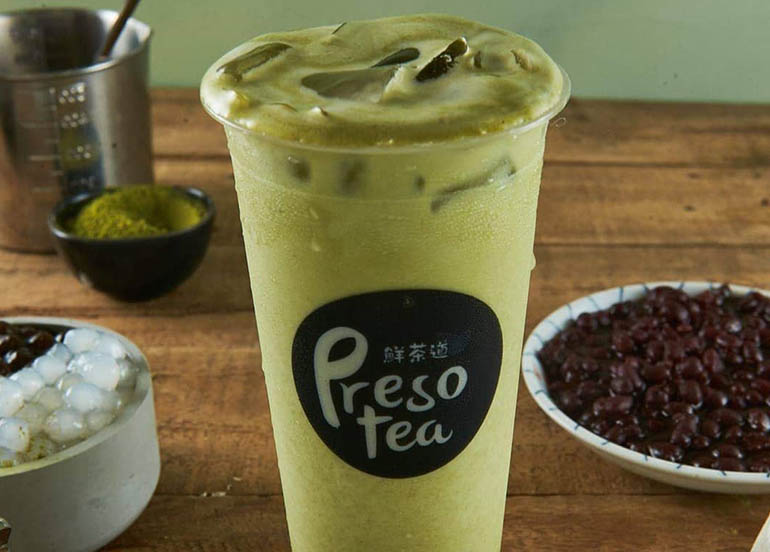 Matcha Latte with Red Bean and White Pearls from Preso Tea