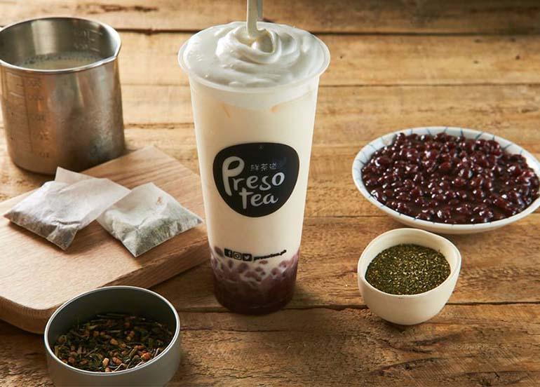 Japanese Genmaicha Milk Tea with Red Bean from Presotea