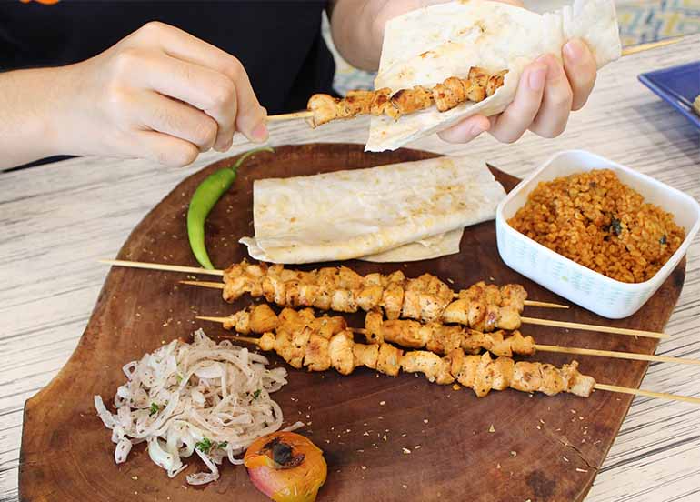 Kebab on a Stick from FETA Mediterranean