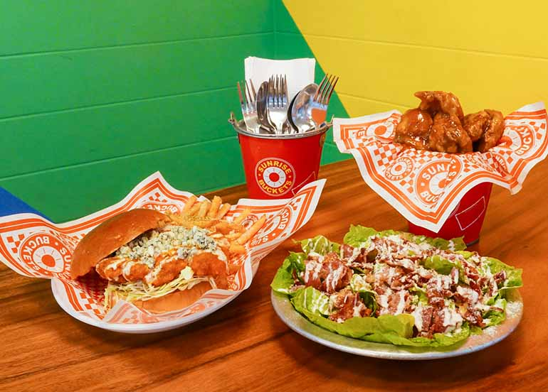 Wingers, Burger and Salad from Sunrise Buckets