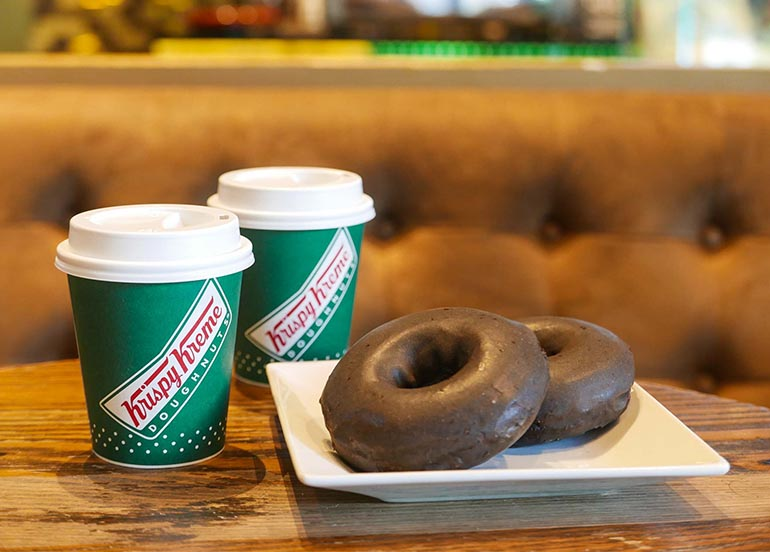Choco Glazed Doughnut with Original Coffee from Krispy Kreme