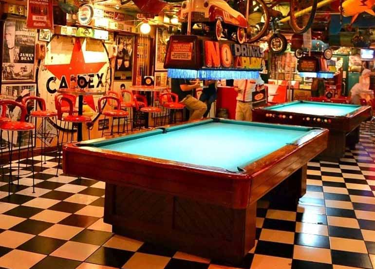 Pool Table and Filling Station Bar Cafe Interiors