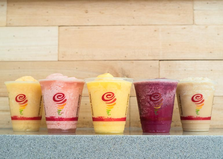 Citrus Peach, Strawberry, Mango, Blueberry, Coffee Smoothies from Jamba Juice