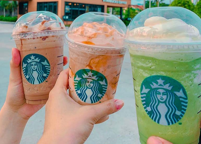 Java Chip, Caramel, and Green Tea Frappuccino from Starbucks