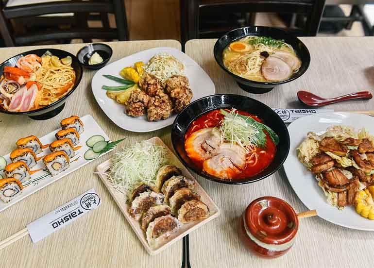 Ramen, Gyoza Karaage, Maki Roll from Taisho Ramen