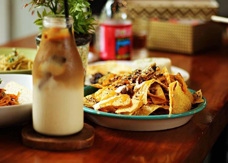 Nachos and Latte from Yellow Bird Cafe x Kitchen