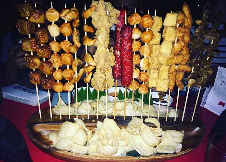Kamote Cue, Squidball, Kikiam, Calamares, Hotdog, Fish Cake, Barbeque, and Chips from Padi's Point Restaurant and Bar