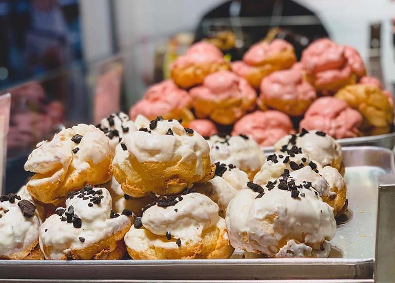 Strawberry and Cookies and Cream Cream Puffs from Beard Papas