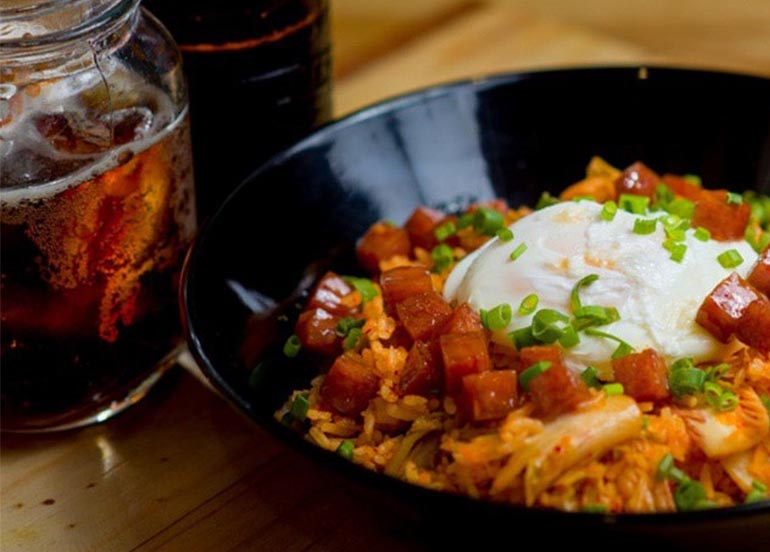 Kimchi Rice Bowl with Spam Bits from Cops and Robbers