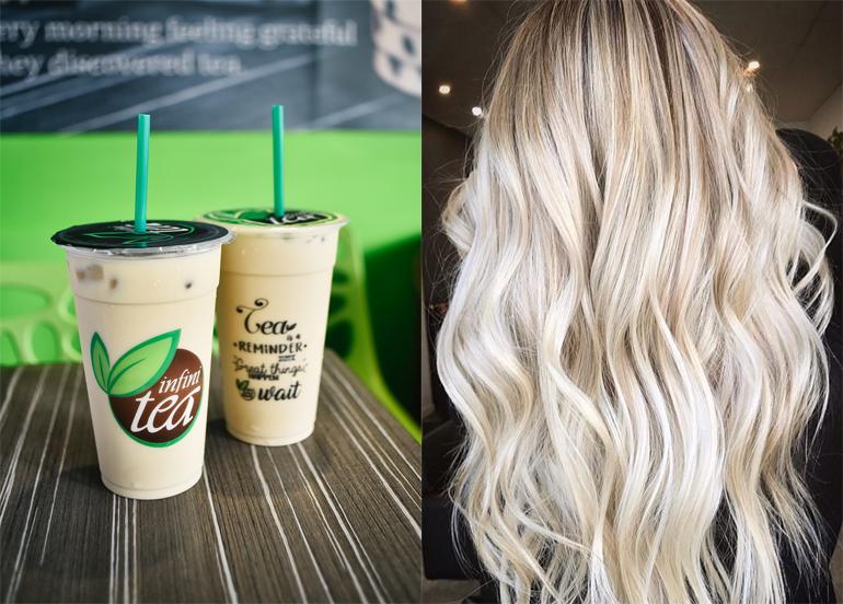 L - Infinitea Milk Tea  R - Blonde Hair