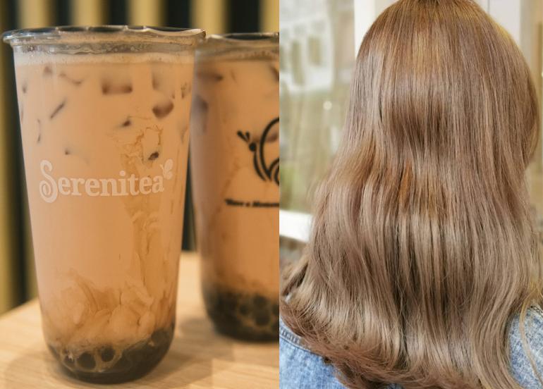 L - Serenitea Milk Tea  R - Strawberry blonde hair