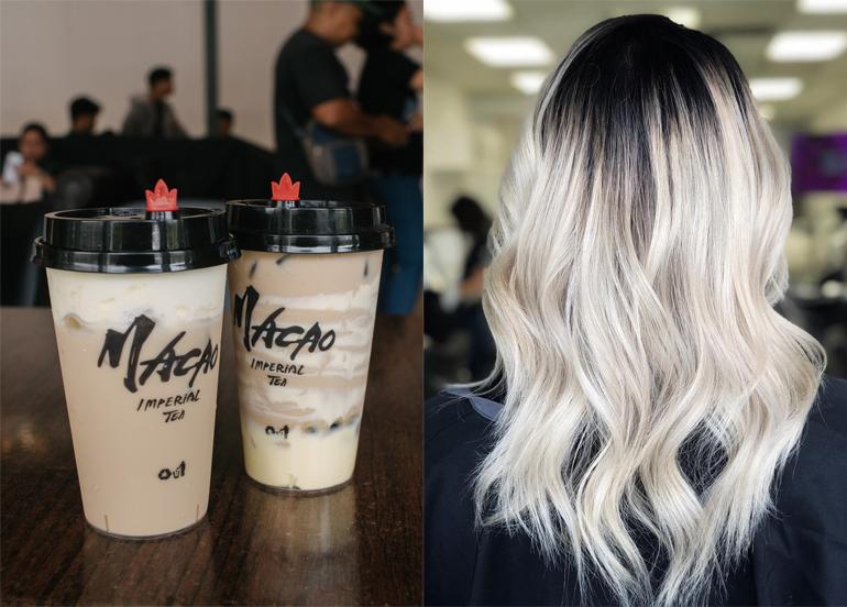 L - Macao Imperial Tea Milk Tea R - Ombre Hair - Blonde and black