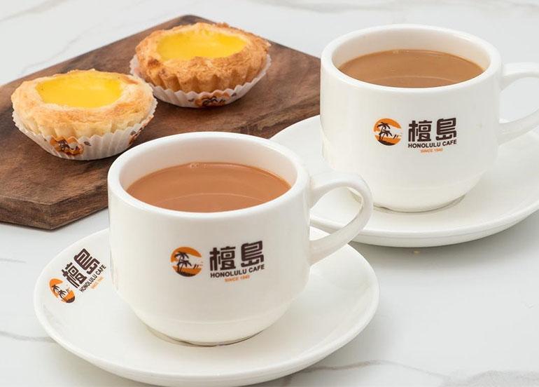 Egg Tart and Milk Tea from Honolulu HK Cafe