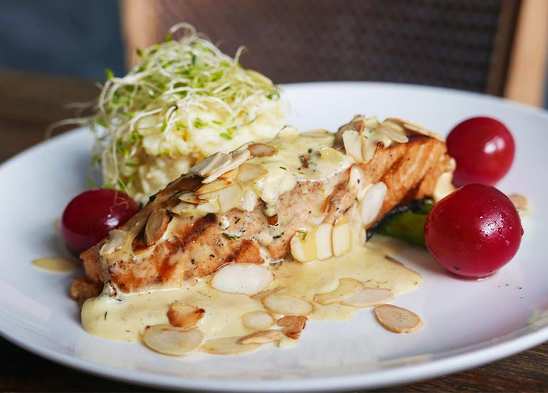 Grilled Salmon with Almond Cream from Mulberry Door