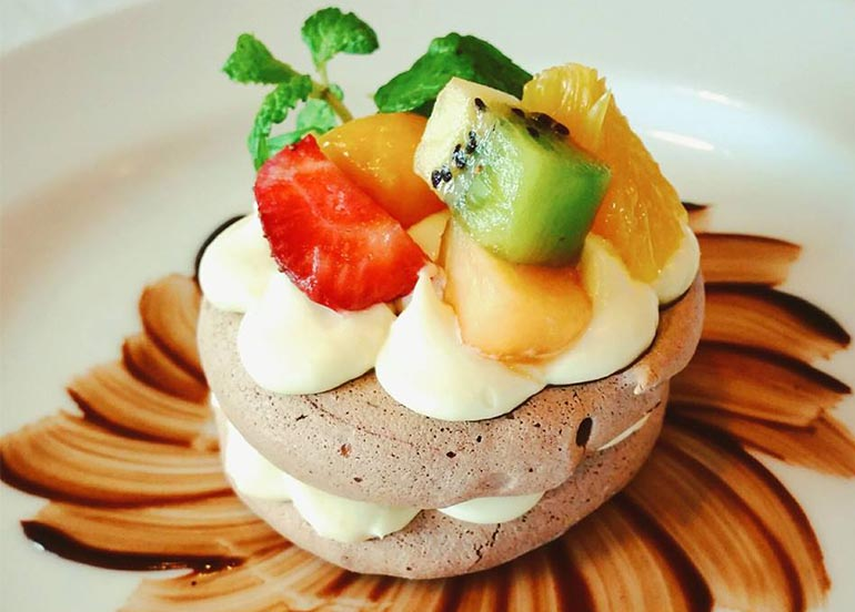 Chocolate Meringue with White Chocolate Ganache and Fruits from Top of the Citi by Chef Jessie