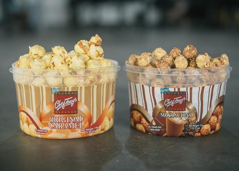 Original Caramel and Mochachino Flavored Popcorn from Chef Tony's Popcorn