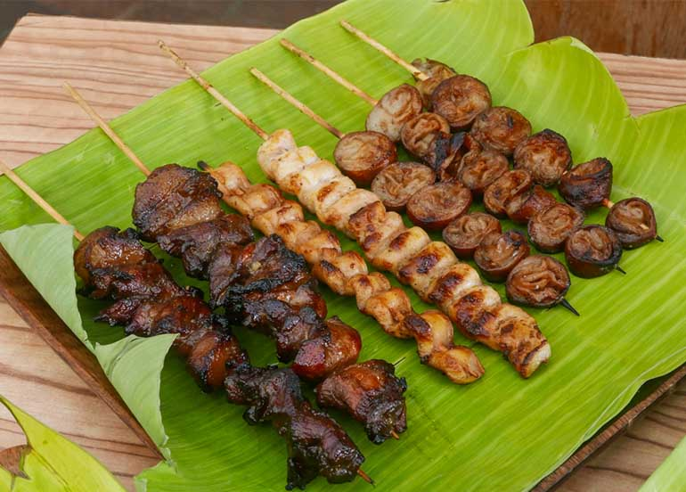 Grilled Pork BBQ, Busog na Pusit, and Pork Isaw from Smokes Tatay's BBQ