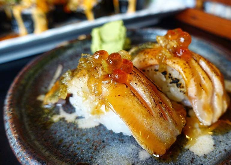 Blow Torched Salmon Belly Sushi from Sensei Sushi Bar