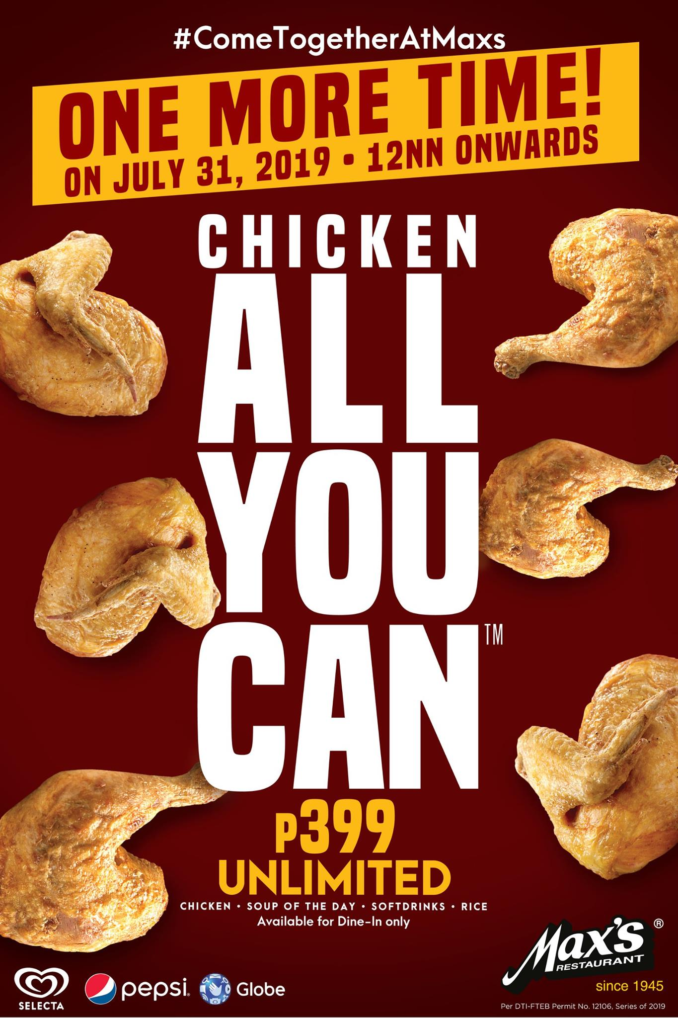 Max's Restaurant Chicken All-You-Can Promo Poster