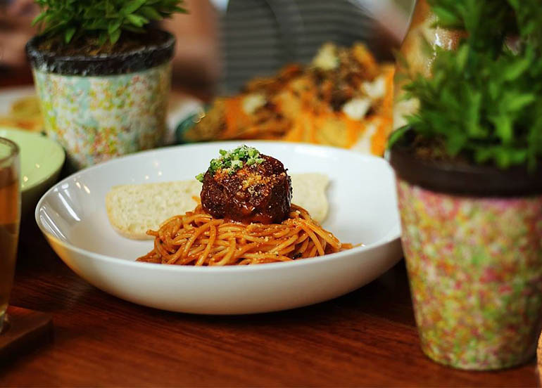 Spaghetti and Meatballs from Yellow Bird Cafe x Kitchen