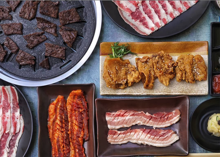 Soban K-Town Grill Flatlay with Barbecue Pork, Beef, Chicken
