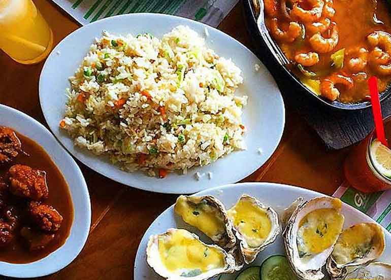 Filipino Seafood Dishes with Rice from Giligan's Restaurant