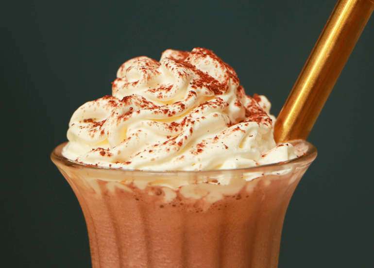 Sunnies Cafe Chocolate Milkshake with Whipped Cream and Metal Straw
