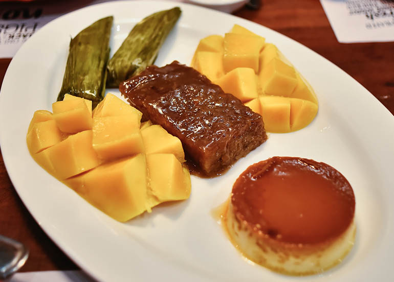 Mango and Kakanin and Leche Flan from Zubuchon
