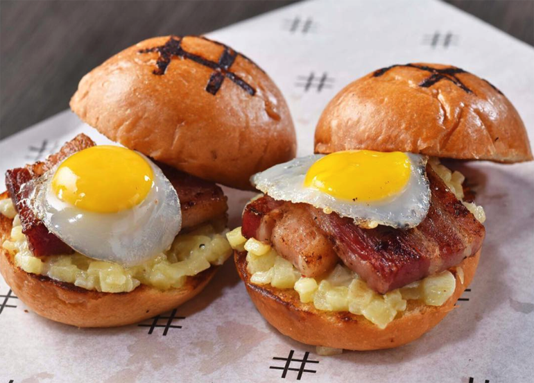 Pound Breakfast Burger with Bacon and Eggs