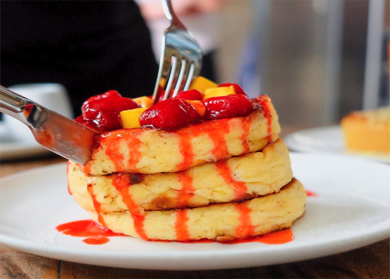 Little Flour Cafe Pancake with Strawberries