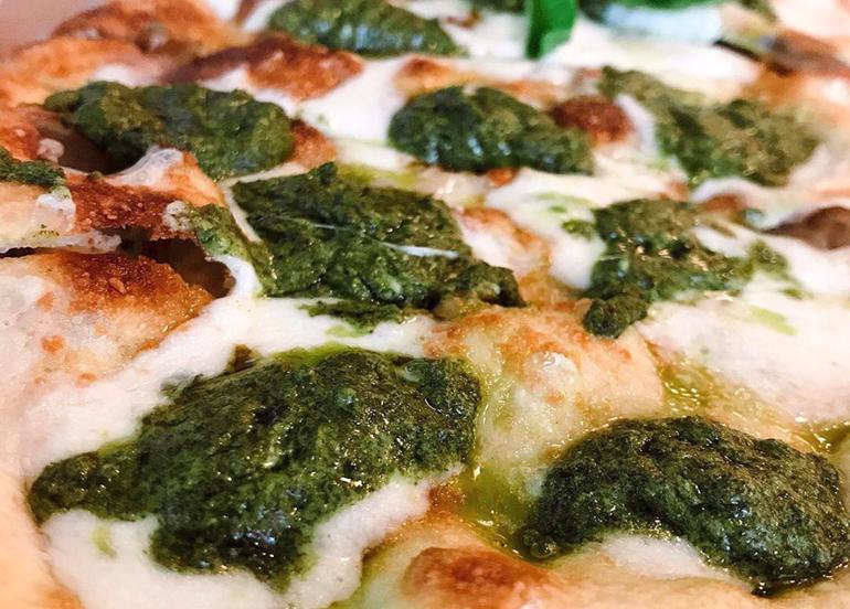 Fiori Di Zucca, Closeup, Pizza, Flatbread, Cheese, Pesto, Oil